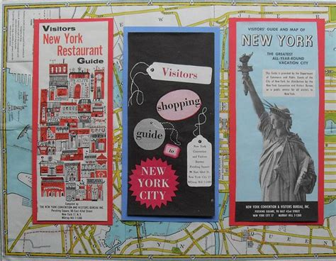1950s 1960s NYC Vintage New York City Tourist Bochures Map