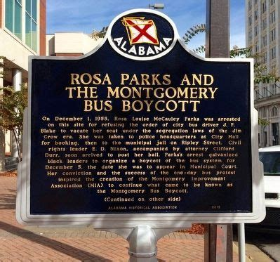 Rosa Parks and the Montgomery Bus Boycott Historical Marker