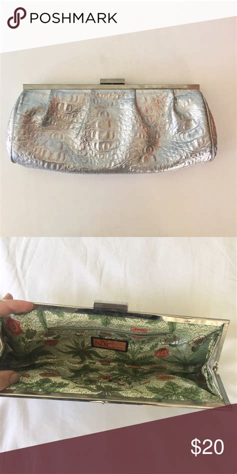 NYC by Perlina Silver Clutch Alligator texture